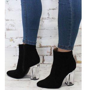 Sale!!! Black Clear Heel Booties