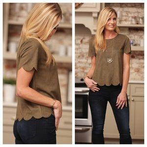Olive suede scallop short sleeve top blouse in tan
