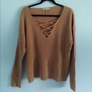 Brown cross lace up sweater