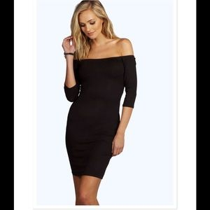 ASOS Dresses & Skirts - NWT Black Off Shoulder Mini Bodycon Dress Sz 4