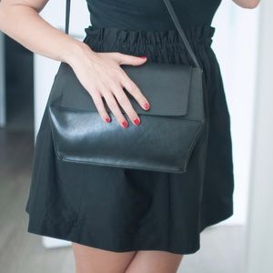COS Cross Shoulder Leather Bag Black