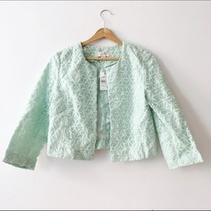 Mint Embroidered Floral Bolero Cropped Jacket