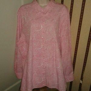 Foxcroft Tops - Foxcroft Pink & White Button Down Shirt Sz 20W