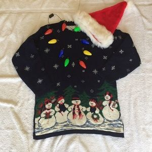 Thick & Cozy Snowman Holiday Blue Sweater Size S