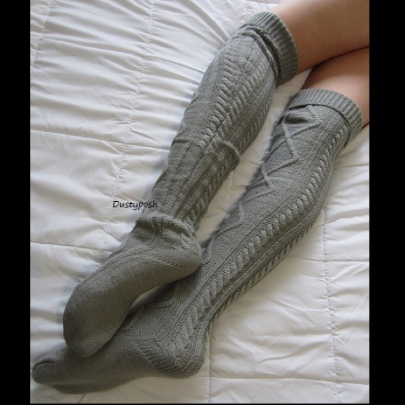 3326e23d5 Soft Cable Knit Over The Knee Socks Thigh High OTK
