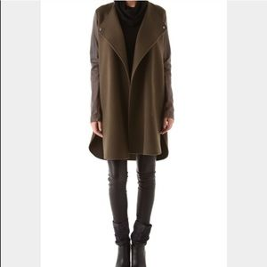 Vince Jackets & Blazers - Vince Leather Sleeved Double Face Wool Coat