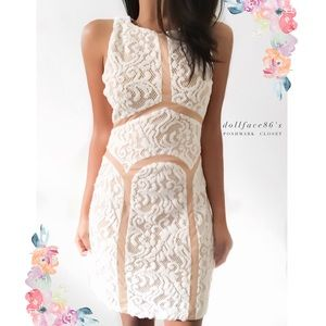 Ark & Co Dresses & Skirts - Ark & Co. White Lace & Nude Dress