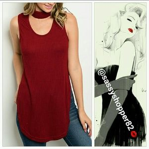 SASSY Tops - 🔥LAST 3🔥'AMORE' Wine red choker top
