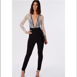 Missguided Pants - MISSGUIDED // White Black Lace Deep V jumpsuit uk6