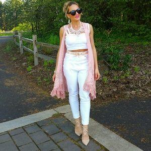 """Tops - 🌹LAST 1🌹 """"ABBY' Dusty Pink Crochet Vest"""