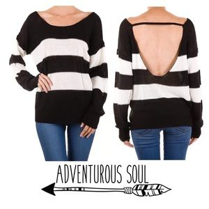 SALE Striped Scoop Back Sweater
