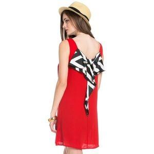 THE BLOSSOM APPAREL STRIPE BOW BACK DRESS-RED