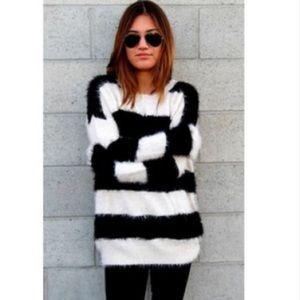 Solemio Sweaters - Fuzzy Striped Sweater