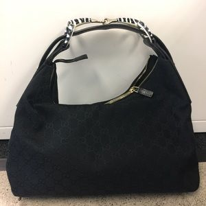 Gucci monogram canvas hobo with zebra handle