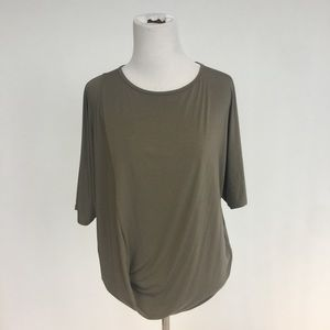 Vince Olive Jersey Asymmetrical Draped Tee