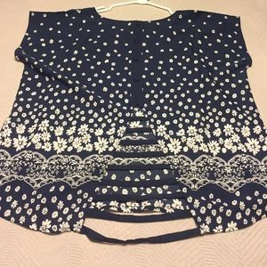 mine too Tops - Mine Too (zulily brand) navy floral top NWOT jr 0X