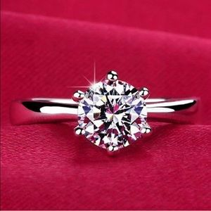 Sterling Silver CZ Solitaire Engagement Ring