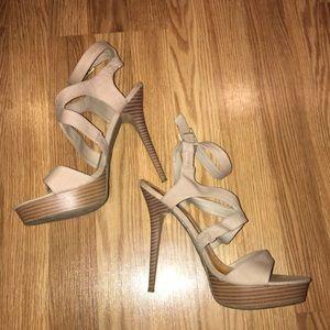 Anne Michelle Shoes - Nude platform heels