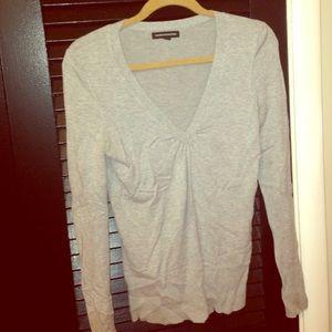 Gray V Neck Express Sweater