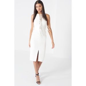 Lavish Alice Dresses & Skirts - Lavish Alice White Lace Up Front Side Midi Dress