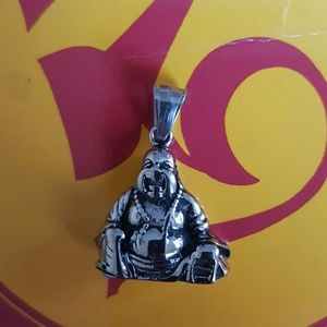 Maya Jewelry - Large buddha stainless steel pray love pendant