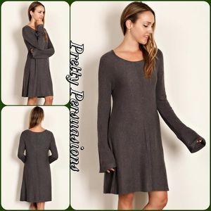 Olive Long Sleeve Knit Sweater Dress