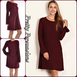 Burgundy Long Sleeve Knit Sweater Dress