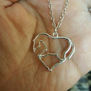 "Maya Jewelry - Heart horse love pendant silver 316l necklace 18"""
