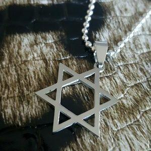 Maya Jewelry - Lg jewish star of david stainless steel necklace