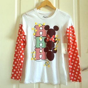 Disney Tops - new disney christmas red polka dot mickey shirt