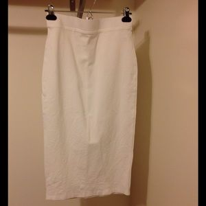 Off White Midi Pencil Skirt