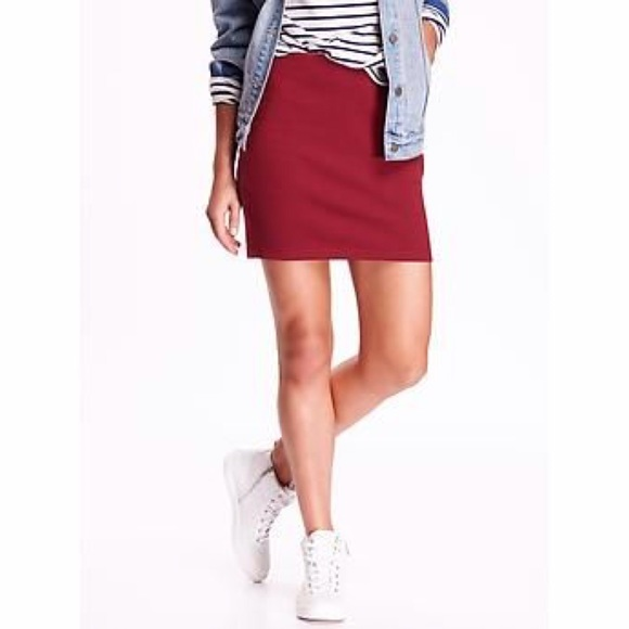 687605db636de Old Navy Skirts | Red Ponte Mini Skirt Small Tall | Poshmark