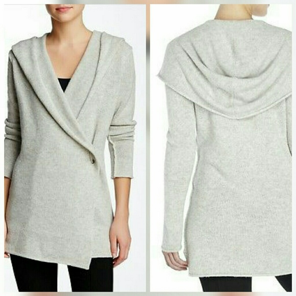 63% off Vince Sweaters - Vince Sophie Pin Gray Hooded Cardigan ...