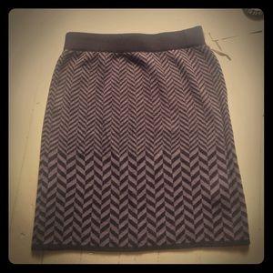 Wool blend herringbone skirt
