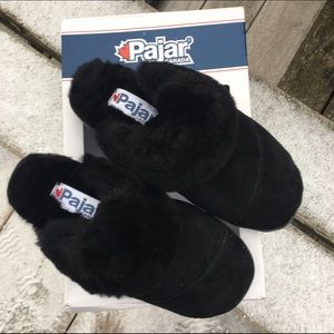 Black Pajar Suede Slippers! NEW!