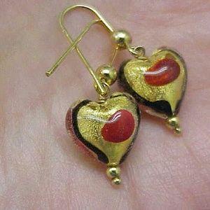 Other - Estate Blue Red enamel 14k gold dangle earrings