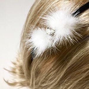 Sweet Fur Puff Headband with Glass Crystal❤️