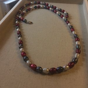 Honora   white , gray, burgundy pearl necklace