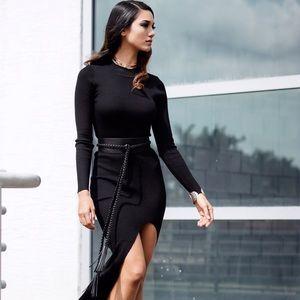 Style Link Miami Dresses & Skirts - BLACK LONG SLEEVE RIBBED DRESS