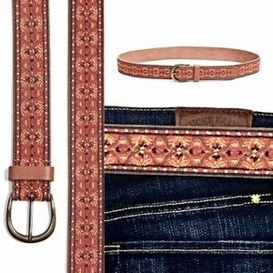 Lucky Brand Brown Leather Embroidered Belt- New