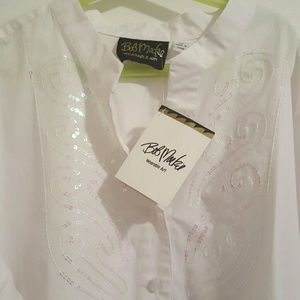 Bob Mackie Tops - NWT Bob Mackie Pink Sequin Designed Blouse XL