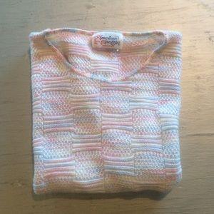 Vintage Rainbow Pastel Woven Knit Top