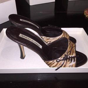 Manolo Blahnik animal print heels