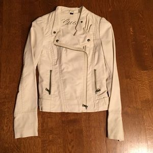 Guess Jackets & Blazers - Like New Cream Colored GUESS Leather Jacket -XS
