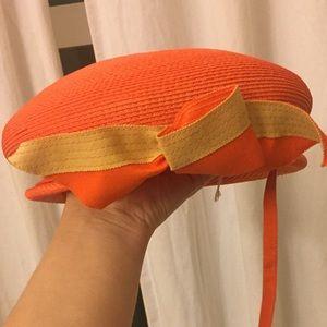 Vintage Accessories - Unique Vintage Hat Orange and Yellow with Tie