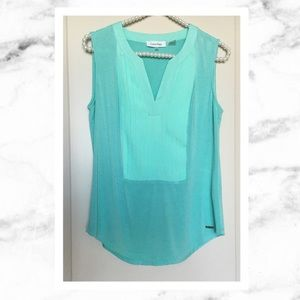 Calvin Klein Tops - Calvin Klein Sleeveless Pleated Green Top