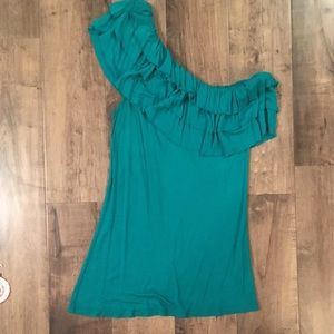 Teal one shoulder top