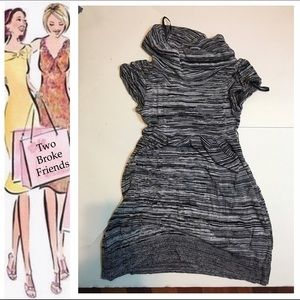 My Michelle Other - Girls gray knit dress, Sz. 8, with cowl neck.