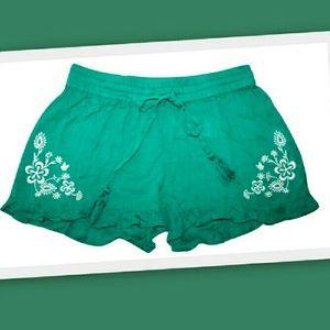 PJ Salvage Pants - PJ Salvage Gauze Embroidered Boho Lounge Shorts