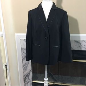 Jackets & Blazers - John Meyer faux leather trim blazer size 14W